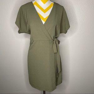 Bobeau Kimono sleeve Wrap Dress Olive Green